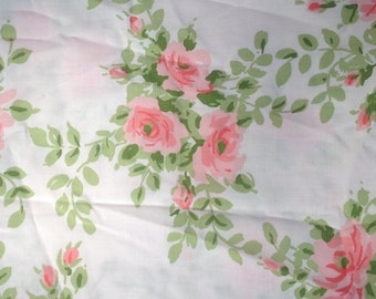 Utica Pink Rose Pillow Case + 1977 + Vintage Linens and Fabric