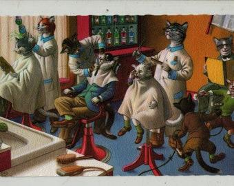 Mainzer Cats * Barber Shop * 4880 * Eugen Hartung * Belgium * Unused * Vintage Postcard * Deckle Edge