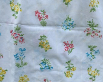 Tiny Flowers in Red, Blue, Yellow, and Pink *Vintage  Flat Sheet