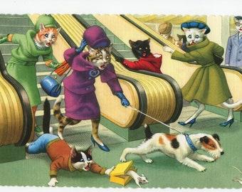 Mainzer Cats * Escalator Chaos * 4714 * Alfred Mainzer * Eugen Hartung * Unused * Vintage Postcard * Deckle Edge