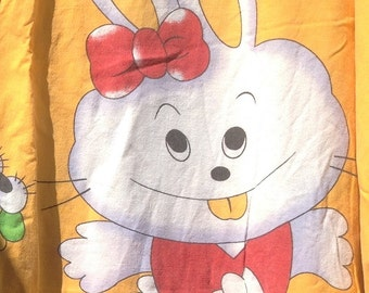 Happy Rabbit Babys Duvet Cover Twin Size with Pillow Case + 1980s + Vintage Linens and Fabric