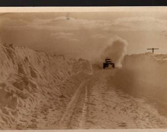 Winter Scene +  Snow Plow Driving Through Snow + Vintage Photo Postcard
