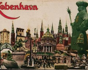 Kobenhavn Postcard Portfolio + Souvenir Folder Copenhagen + Vintage Souvenir Postcard Book