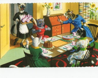 Mainzer Cats * Tea and Cake / Mom Time * 4916 * Eugen Hartung * Spain * Unused * Vintage Postcard * Deckle Edge
