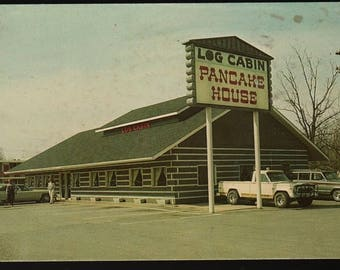 Log Cabin Pancake House + Pigeon Forge, Tennessee +  Vintage Souvenir Photo Postcard