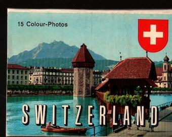 Switzerland 15 Colour-Photos + Vintage Souvenir Postcard Book