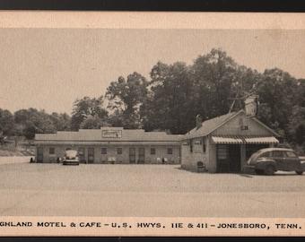 Highland Motel and Cafe + Jonesboro, Tennessee + Vintage Black & White Postcard