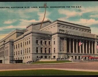 New Municipal Auditorium – St. Louis, Missouri – U.S.O. + Vintage Postcard