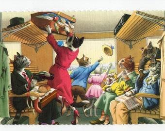 Mainzer Cats * Train Car Chaos * 4715 * Alfred Mainzer * Eugen Hartung * Unused * Vintage Postcard * Deckle Edge