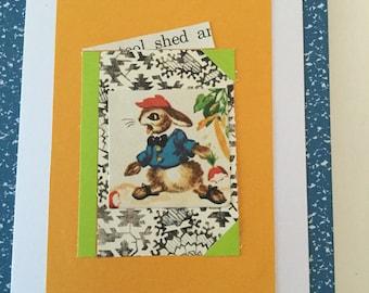 Handmade Notecard * Peter Rabbit * Open Book Quilt Block * Upcycled Collage * OOAK