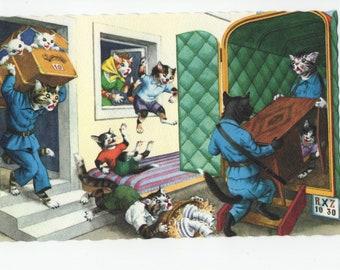 Mainzer Cats * Moving Day * 4923 * Eugen Hartung * Unused * Vintage Postcard * Deckle Edge