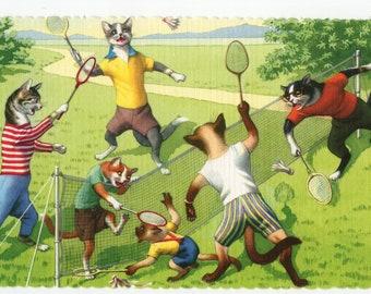 Mainzer Cats * Badminton * Shuttlecock * 4713 * Eugen Hartung * Alfred Mainzer * Unused * Vintage Postcard * Deckle Edge