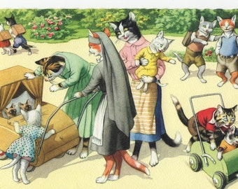 Mainzer Cats * Nurse Pushing Stroller With Twin Kittens * 4854 * Eugen Hartung * Unused * Vintage Postcard * Deckle Edge