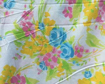 Vibrant Bouquet of Pink, Yellow and Blue Flowers * Vintage Flat Sheet