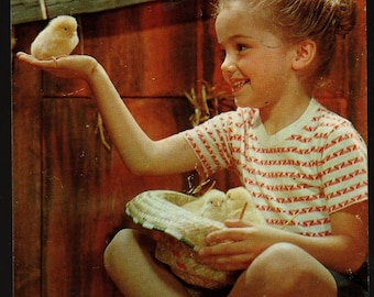 Girl with Chicks + New Friends + Vintage Photo Postcard