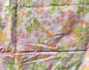 Pink and Yellow Flowers with Green Leaves * Vintage Flat Sheet