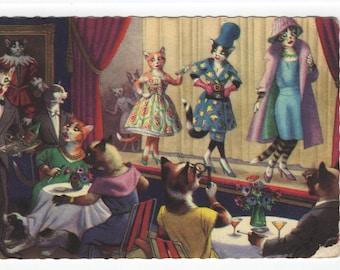 Mainzer Cats * Fashion Show * 4910 * Eugen Hartung * Belgium * Unused * Vintage Postcard * Deckle Edge