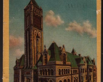 Allegheny County Court House + Pittsburgh, Pennsylvania + 1956 + Vintage Colorcraft Postcard