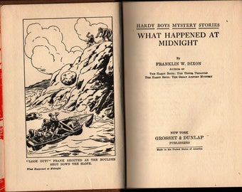 What Happened At Midnight + Hardy Boys + Franklin W. Dixon + 1931 + Vintage Mystery Book