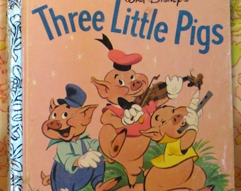 Walt Disney's Three Little Pigs a Little Golden Book * Milt Banta and Al Dempster * The Walt Disney Studio * 1990 * Vintage Kids Book