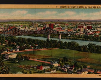 Skyline of Huntington, West Virginia from Ohio + Vintage Curteich Postcard