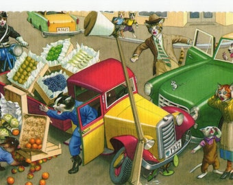 Mainzer Cats * Fruit Truck Crash * 4712 * Eugen Hartung * Alfred Mainzer * Unused * Vintage Postcard * Deckle Edge