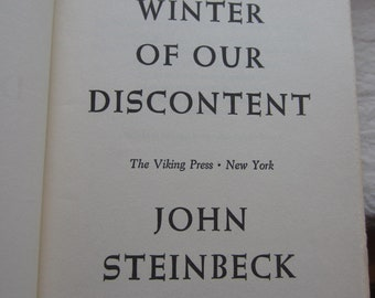 The Winter of Our Discontent * First Edition * John Steinbeck * The Viking Press * 1961 * Vintage Literature Book