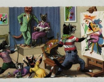 Mainzer Cats * Abstract Portrait Painter * 4907 * Eugen Hartung * Belgium * Unused * Vintage Postcard * Deckle Edge