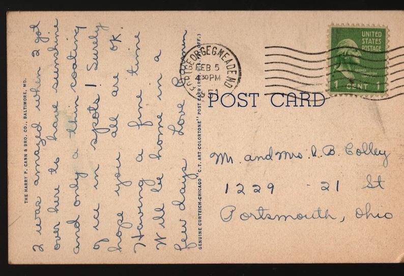 1951 Vintage Curteich Postcard Fort Meade Maryland Main Barracks