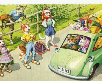 Mainzer Cats * Hitchhiker Family * Road Trip * 4729 * Alfred Mainzer * Eugen Hartung * Unused * Vintage Postcard * Deckle Edge