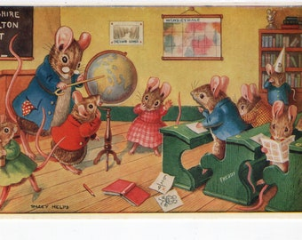 Trip Around the Globe * Classroom * Mice * Teacher * Students * 277 * Racey Helps * The Medici Society * Great Britain * Vintage Postcard