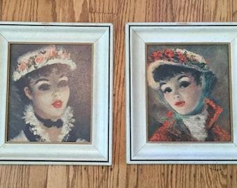 Fancy French Ladies * Portrait * Framed * Vintage Art