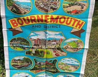 Bournemouth * Boscombe Beach * Riverside Inn, Tuckton * Vintage Souvenir Tea Towel