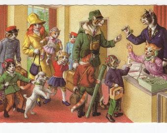 Mainzer Cats * Hotel Lobby * 4993 * Eugen Hartung * Belgium * Unused * Vintage Postcard * Deckle Edge