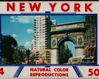 New York 14 Natural Color Reproductions + Vintage Souvenir Postcard Book