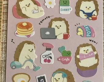 Chill Friends Sticker * Home * Hedgehog * Japanese Sticker Set