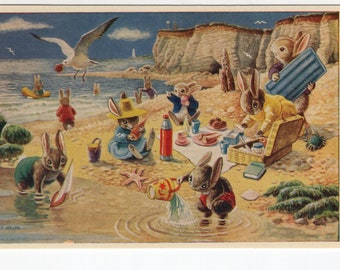 Picnic on the Beach * Rabbits * Seaside * Racey Helps * The Medici Society * Great Britain * Vintage Postcard