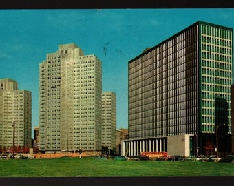 Gateway Center and State Building – Pittsburgh, Pennsylvania + 1959  – Vintage Ektachrome Postcard