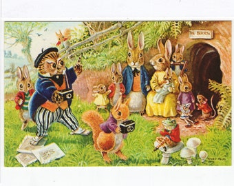 The Photographers * Owl * Rabbit Family * Woodland Scene * 379 * Racey Helps * The Medici Society * Great Britain * Vintage Postcard