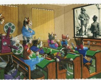 Mainzer Cats * Movie Day * Cop Film * 4724 * Alfred Mainzer * Eugen Hartung * Unused * Vintage Postcard * Deckle Edge