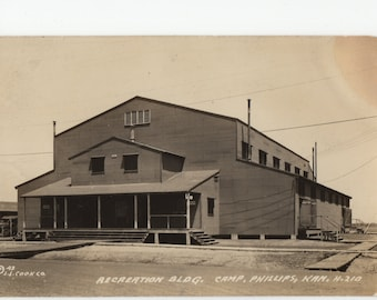 Recreation Building * Camp Phillips * Kansas * Linen * Vintage Postcard