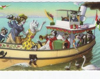 Mainzer Cats * River Cruise * 4911 * Alfred Mainzer * Eugen Hartung * Belgium * Unused * Vintage Postcard * Deckle Edge