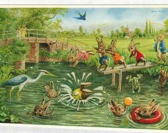 The Diving Board * Rabbits * Swimming Hole * 274 * Racey Helps * The Medici Society * Great Britain * Vintage Postcard