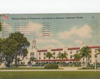 National Home of Carpenter and Joiners of America * Lakeland * Florida * 1946 * Canceled Stamp * Linen * Vintage Postcard
