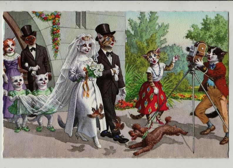 Baptism  Christening Deckle Edge Eugen Hartung 4939 Unused Belgium Vintage Postcard Mainzer Cats