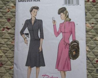 Retro Butterick '44 Dress Patterns * B6485 & B6374 E5 (14-16-18-20-22) * Vintage Sewing Pattern