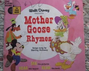 Walt Disney Presents Mother Goose Rhymes * Songs Sung by Sterling Holloway * Walt Disney Productions * 1952 * Vintage Kids Book