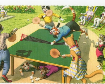 Mainzer Cats * Ping Pong Game * 4716 * Alfred Mainzer * Eugen Hartung * Unused * Vintage Postcard * Deckle Edge