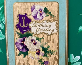 Birthday Greetings * Anchor * Pansies * Cancelled Stamp * 1900s * Victorian Postcard