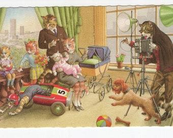 Mainzer Cats * Family Photo * 4984 * Alfred Mainzer * Eugen Hartung * Belgium * Unused * Vintage Postcard * Deckle Edge